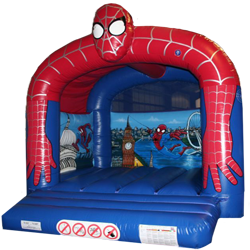 A delightful Spiderman themed bouncy castle